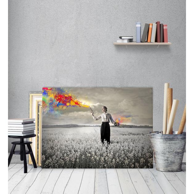 Πίνακας Καμβάς Κοπέλα Χρωματίζει Πολύχρωμα