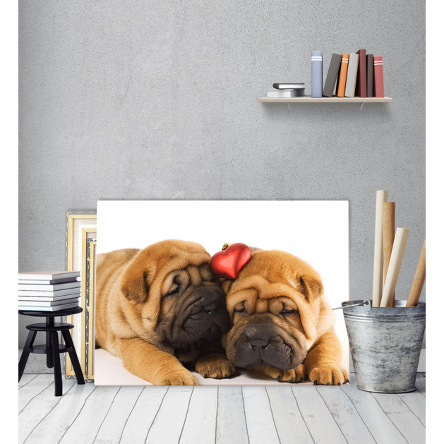 Πίνακας Καμβάς σκυλάκια Puppies Love