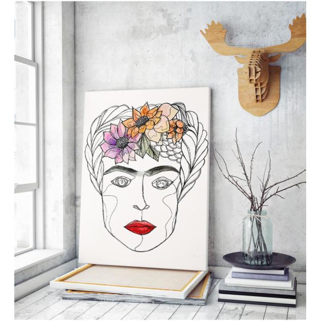 Πίνακας ζωγραφικής σε Καμβά  Frida Kahlo Σχέδιο