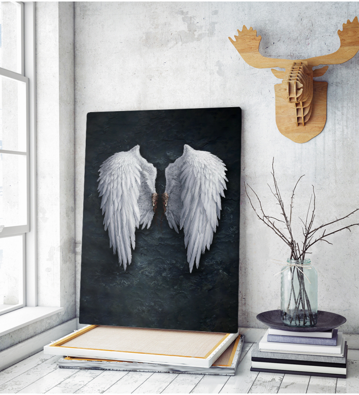 Πίνακας σε Καμβά Μαύρος με Φτερά Αγγέλου