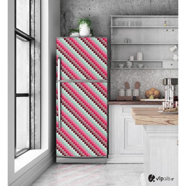 """Αυτοκόλλητο Ψυγείου με εκτύπωση """" Retro Style Pixels """""""