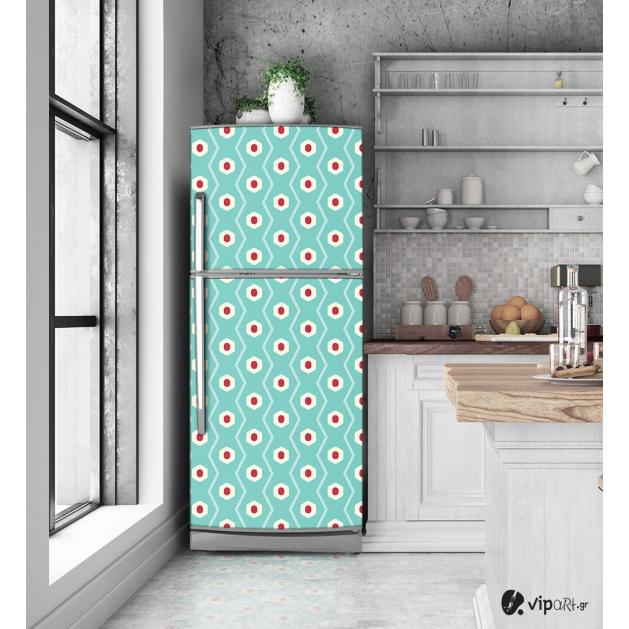 """Αυτοκόλλητο Ψυγείου με εκτύπωση """" Retro Style Geometric Polygon """""""