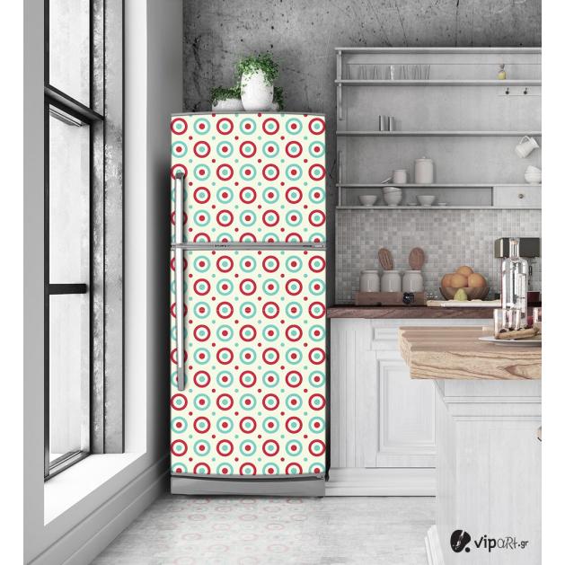 """Αυτοκόλλητο Ψυγείου """" Retro Style Geometric Cycle """""""