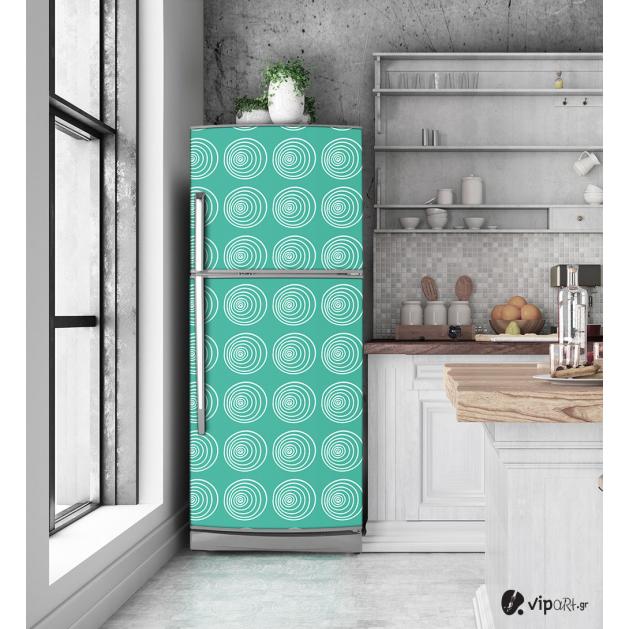 """Αυτοκόλλητο Ψυγείου με εκτύπωση """" Retro Style Geometric Cycles """""""