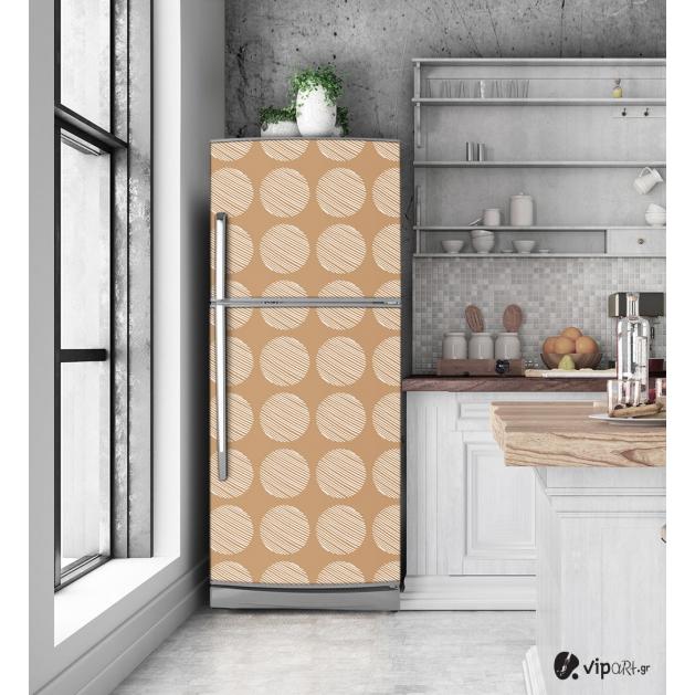 """Αυτοκόλλητο Ψυγείου με εκτύπωση """" Retro Style Geometric Cycles Two """""""