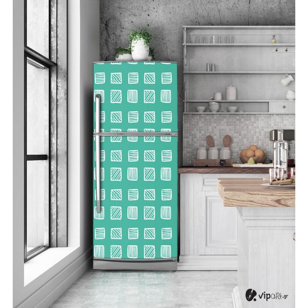 """Αυτοκόλλητο Ψυγείου με εκτύπωση """" Retro Style Geometric Squares """""""