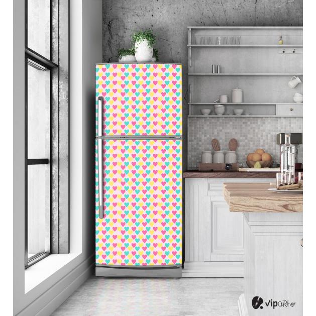 """Αυτοκόλλητο Ψυγείου με εκτύπωση """" Retro Style Geometric Coloured Hearts"""""""