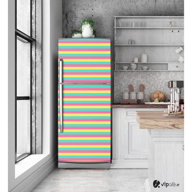 """Αυτοκόλλητο Ψυγείου με εκτύπωση  Χρωματιστές γραμμές """"Colored Lines"""""""
