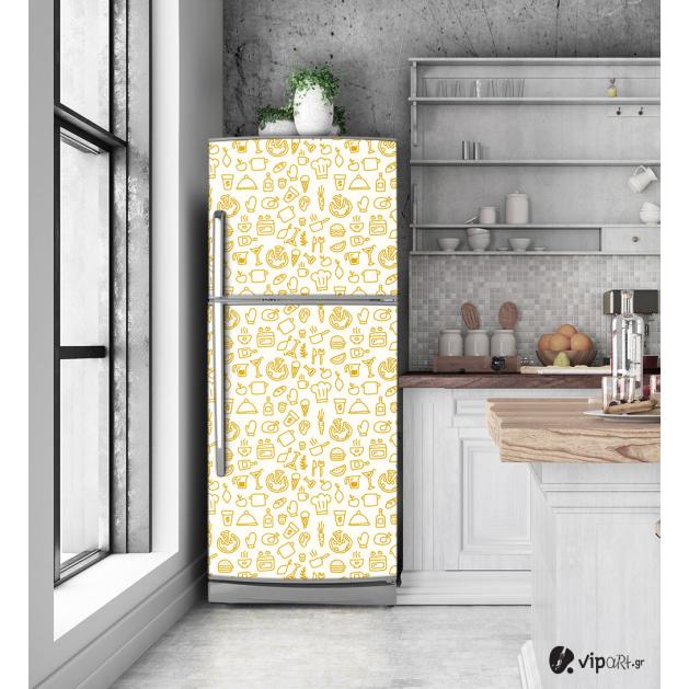 """Αυτοκόλλητο Ψυγείου με εκτύπωση """"Sketch Kitchen"""""""