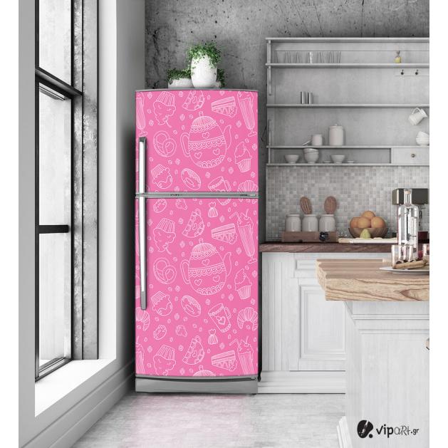 """Αυτοκόλλητο Ψυγείου με εκτύπωση  Ροζ σκίτσο - """"Pink Sketch"""""""