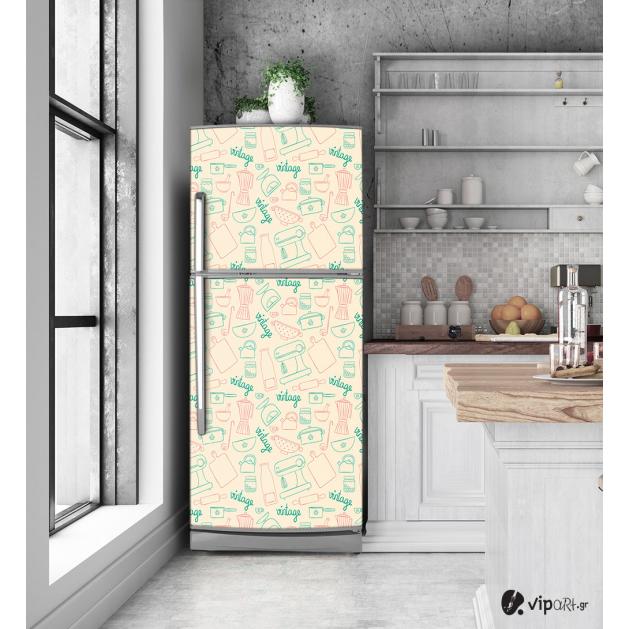 """Αυτοκόλλητο Ψυγείου με εκτύπωση - Εκλεκτής ποιότητας κουζίνα  """"Vintage Kitchen"""""""
