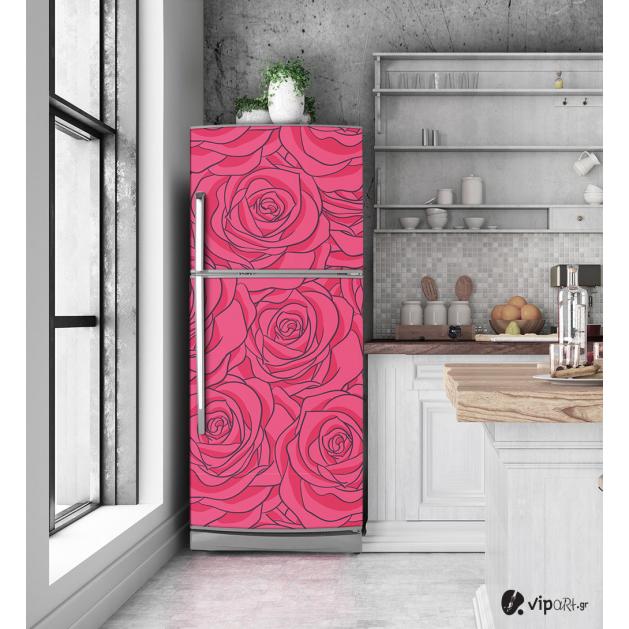 """Αυτοκόλλητο Ψυγείου με εκτύπωση ρόζ """"Rose Pattern"""""""