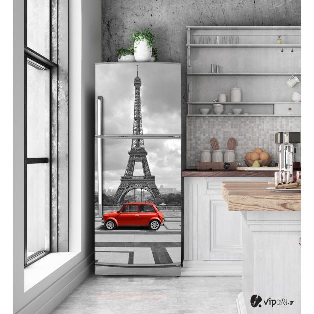 """Αυτοκόλλητο Ψυγείου με εκτύπωση Παρίσι κόκκινο αυτοκίνητο """"Paris Red Car"""""""