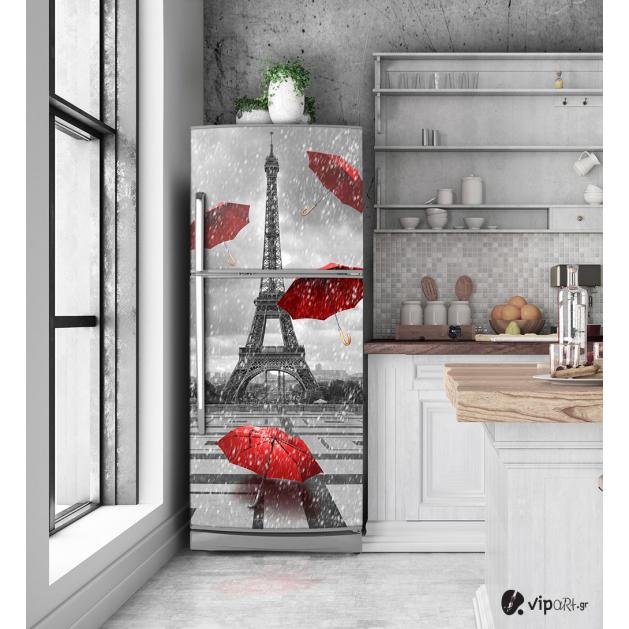 """Αυτοκόλλητο Ψυγείου με εκτύπωση """"Χιονισμένο Παρίσι Κόκκινες Ομπρέλες"""""""