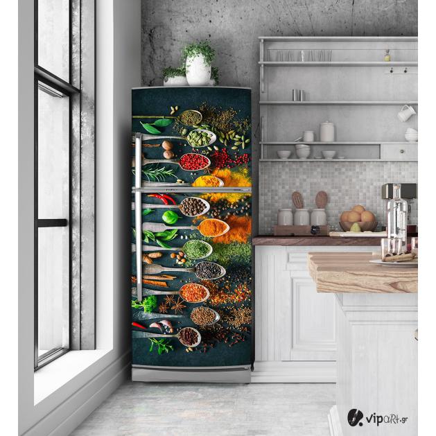 Αυτοκόλλητο Ψυγείου με εκτύπωση Πολύχρωμα μπαχαρικά