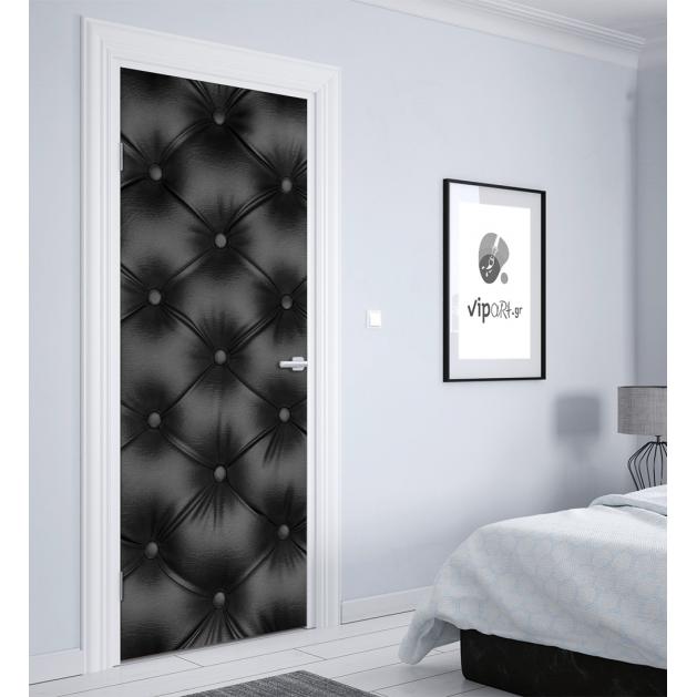 """Αυτοκόλλητο Πόρτας με εκτύπωση Μαύρο Δέρμα -  """"Leather"""""""
