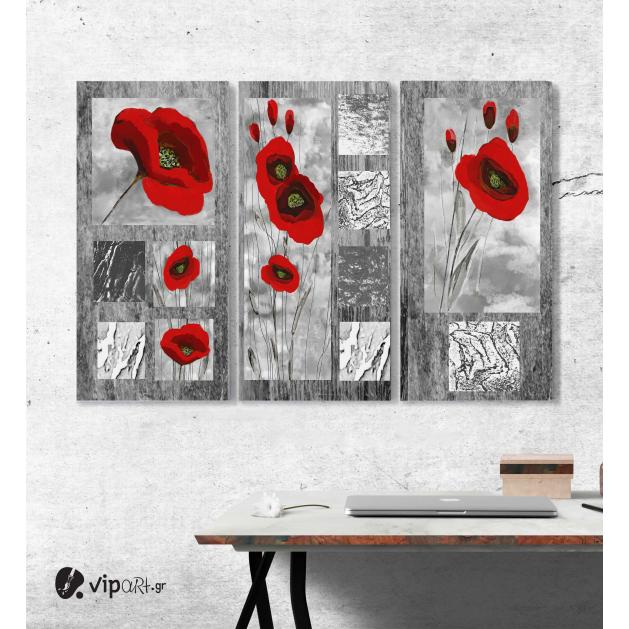 Μοντέρνος Τρίπτυχος Πίνακας σε Καμβά Σύγχρονη αφηρημένη τέχνη Κόκκινες παπαρούνες σε γκρι φόντο