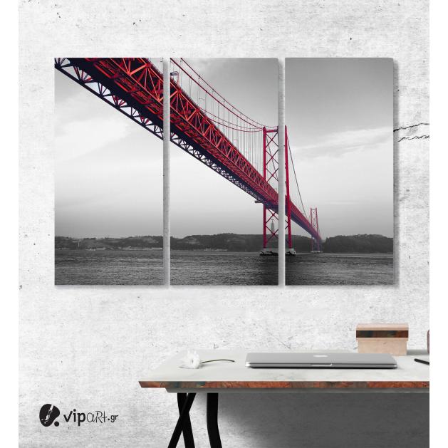 Μοντέρνος Τρίπτυχος Πίνακας σε Καμβά με Κόκκινη γέφυρα σε μονοχρωματικό υπόβαθρο