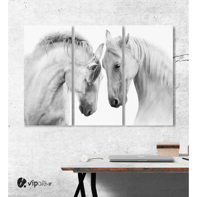 Μοντέρνος Τρίπτυχος Πίνακας Καμβάς με Άσπρα Άλογα