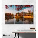 Μοντέρνος Τρίπτυχος Πίνακας Καμβάς με Φθινόπωρο στο παλάτι gyeongbokgung Σεούλ Κορέα