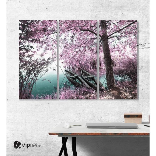 Μοντέρνος Τρίπτυχος Πίνακας Καμβάς με ροζ Δασος Βαρκες - Πάρκο Pateira de Fermentelos