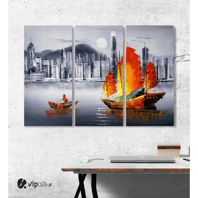 Μοντέρνος Τρίπτυχος Πίνακας Καμβάς με Ελαιογραφία - Victoria Harbour, Χονγκ Κονγκ