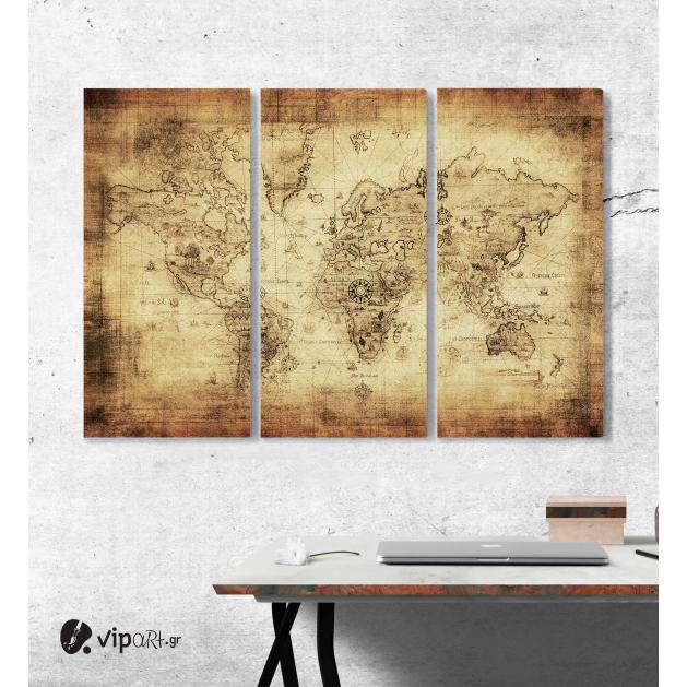 Μοντέρνος Τρίπτυχος Πίνακας Καμβάς αρχαίος χάρτης του κόσμου - ancient map of the world