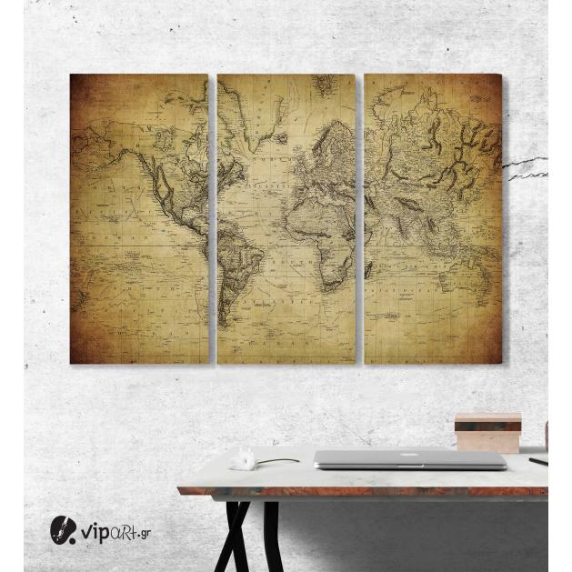 Μοντέρνος Τρίπτυχος Πίνακας Καμβάς αρχαίος χάρτης του κόσμου - vintage map of the world 1814