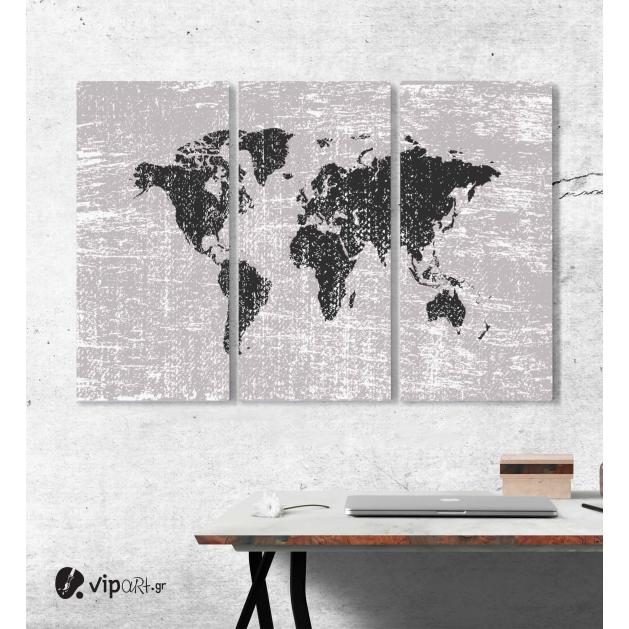 Μοντέρνος Τρίπτυχος Πίνακας Καμβάς Παγκόσμιος χάρτης Grunge - Παλιός χάρτης του κόσμου
