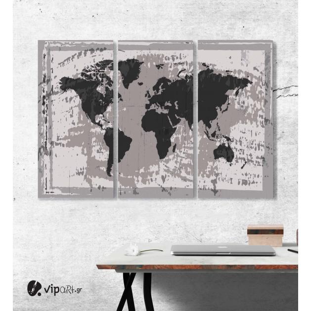 Μοντέρνος Τρίπτυχος Πίνακας Καμβάς Διάνυσμα παγκόσμιος χάρτης grunge Παλιός χάρτης του κόσμου