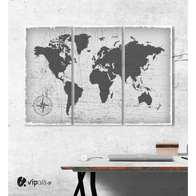 Μοντέρνος Τρίπτυχος Πίνακας Καμβάς Εκλεκτής ποιότητας παγκόσμιος χάρτης