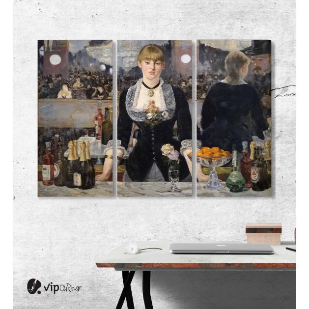 Μοντέρνος Τρίπτυχος Πίνακας Καμβάς Ένα μπαρ στο Folies-Bergère