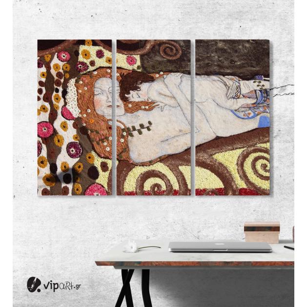 Μοντέρνος Τρίπτυχος Πίνακας Καμβάς Floral χαλί προς τιμή του Gustav Klimt