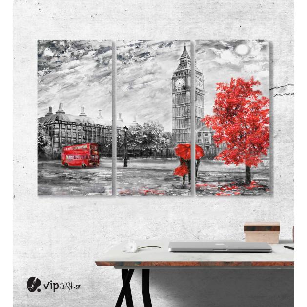 Μοντέρνος Τρίπτυχος Πίνακας Καμβάς ζωγραφική σε καμβά θέα στο δρόμο του Λονδίνου