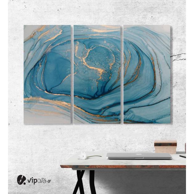 Μοντέρνος Τρίπτυχος Πίνακας Καμβάς Αφηρημένη τεχνική μελάνι αλκοόλ ζωγραφικής με Γαλάζιες - Λευκές - Χρυσές Αποχρώσεις