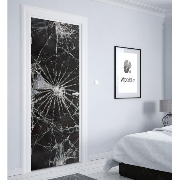 """Αυτοκόλλητο Πόρτας με εκτύπωση σπασμένο γυαλί """"Broken Glass"""""""
