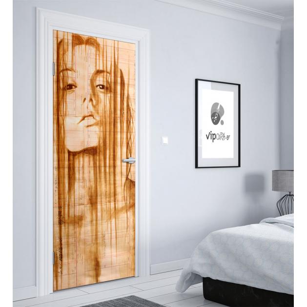 """Αυτοκόλλητο Πόρτας με εκτύπωση """"Girl Artistic"""""""