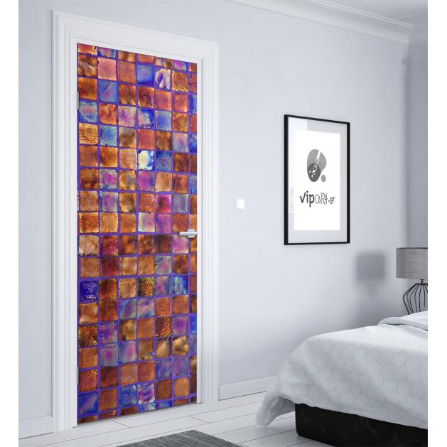 """Αυτοκόλλητο Πόρτας με εκτύπωση """"Glass Motif"""""""