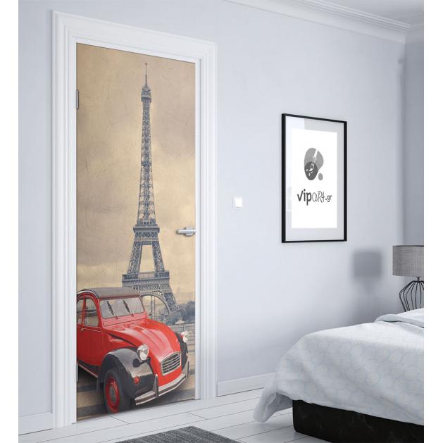 """Αυτοκόλλητο Πόρτας με εκτύπωηση  """"Παρίσι Κόκκινο Αμάξι"""""""
