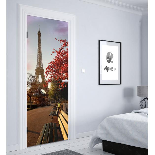 """Αυτοκόλλητο Πόρτας με εκτύπωση  """"Παγκάκια Παρίσι"""""""