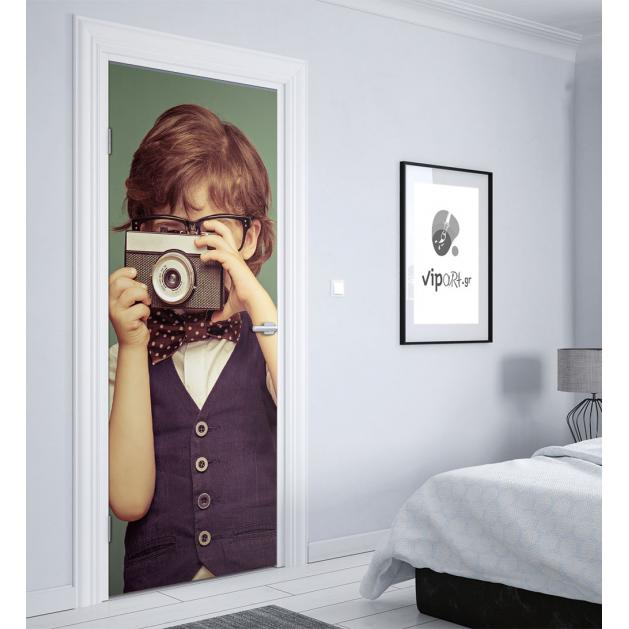 """Αυτοκόλλητο Πόρτας με εκτύπωση μικρός φωτογράφος """" Kid Photographer"""""""