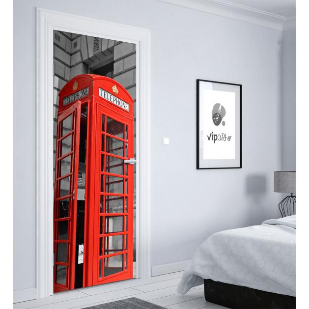 """Αυτοκόλλητο Πόρτας με εκτύπωση  Τηλεφωνικός θάλαμος λονδίνο """" London Telephone """""""