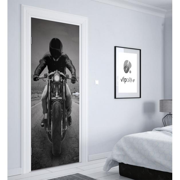 """Αυτοκόλλητο Πόρτας με εκτύπωση """"Motorcycle Rider"""""""