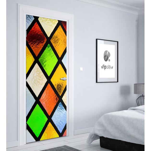 """Αυτοκόλλητο Πόρτας με εκτύπωση πολύχρωμα γυαλιά  """"Colorful Glass"""""""