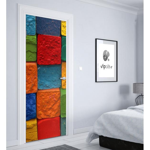"""Αυτοκόλλητο Πόρτας με εκτύπωση """" Χρωματιστές Πέτρες """""""