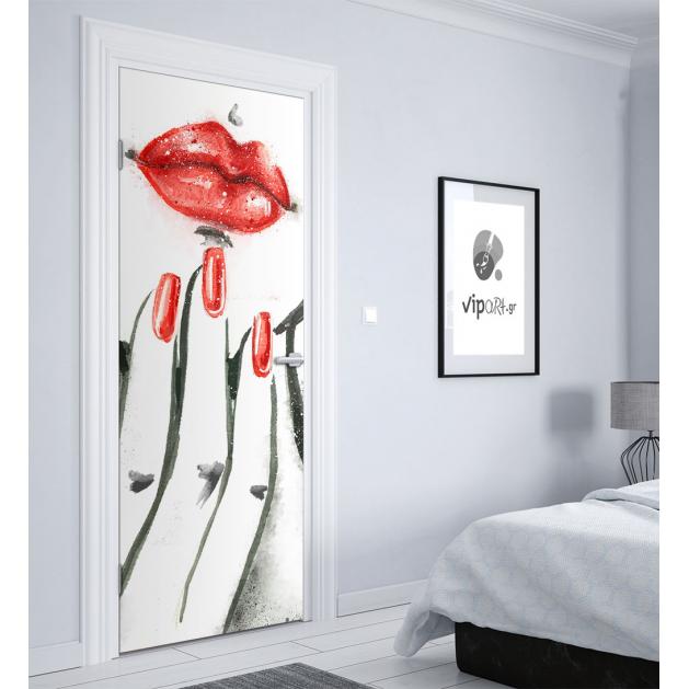 """Αυτοκόλλητο Πόρτας με εκτύπωση Γυναίκα Χείλη Κόκκινα  """" Woman Lips Red """""""