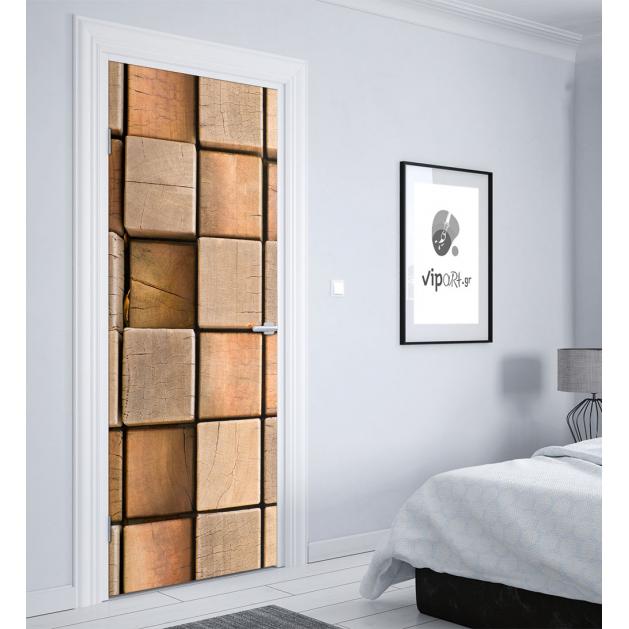 """Αυτοκόλλητο Πόρτας με εκτύπωση ξύλο """" Wooden Cubes"""""""