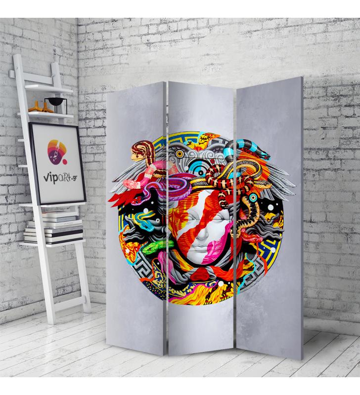 Διακοσμητικό Παραβάν Σε Καμβά με Wall art graffiti Μέδουσα Versace