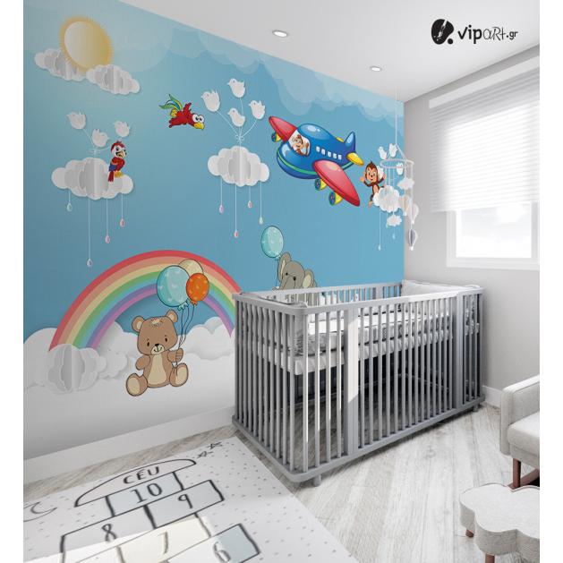 Αυτοκόλλητη Ταπετσαρία Τοίχου για Παιδικό Δωμάτιο για Αγόρι Μπλέ Ζώα Ουράνιο Τόξο Ουρανός