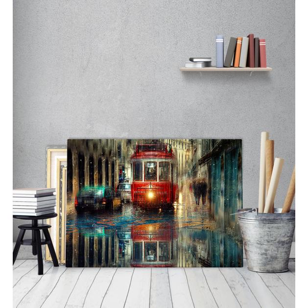 Πίνακας ζωγραφικής σε Καμβά με Τραμ δρόμος